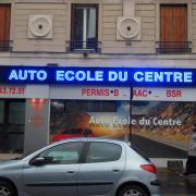 """Enseignes Led bleu """"AUTO ECOLE DU CENTRE"""""""